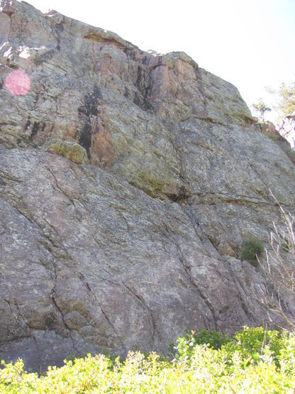 Rock Climbing Photo: Looking up at Hunter orange Blak and orange streak...