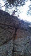 Rock Climbing Photo: Bradski on the upper portion of Au.