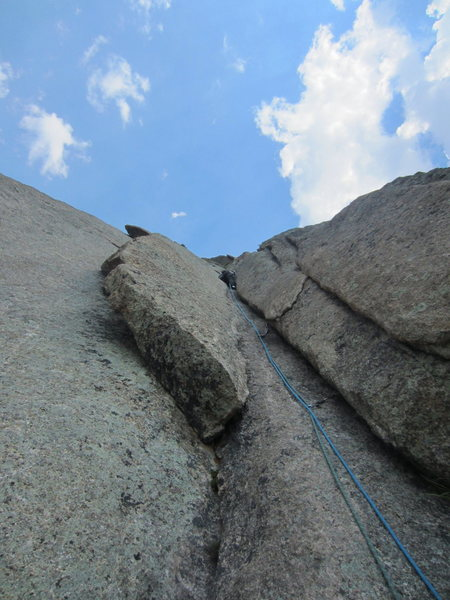 John leading p3 (9+ var is the overhanging flake to the left of the corner).