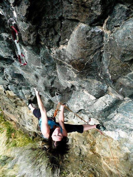 Rock Climbing Photo: Heather Lords firing the crux.