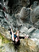Rock Climbing Photo: Heather Lords firing the crux.