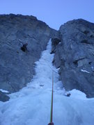 Rock Climbing Photo: Eric Lashinsky at the top of pitch 1, Jan 2009.