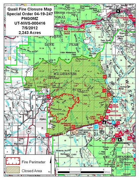 Map of Quail fire and associated closures (07/05/12)