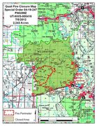 Rock Climbing Photo: Map of Quail fire and associated closures (07/05/1...
