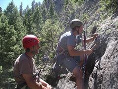 Rock Climbing Photo: Scott Salzer & Eric Johnson laboring in the sun on...