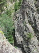 Rock Climbing Photo: Helen finishes the last crux of Road Sister before...