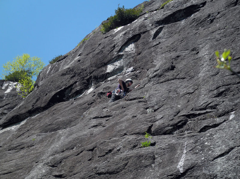 Valerie Bachinsky approaching the first belay, P1 of The Prince 5.7 (King Wall).