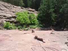 Rock Climbing Photo: Following P1, Direct East Face, First Flat Iron.  ...