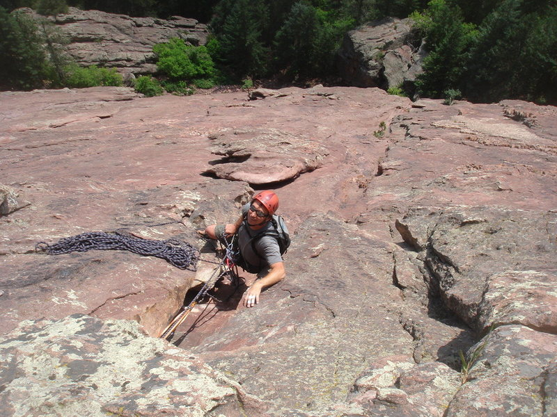 Anchor 2, Direct East Face, First Flat Iron.<br> <br> Photo by Ross M.