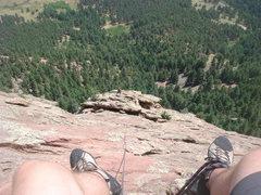 Rock Climbing Photo: Following P4, Direct East Face, First Flat Iron.  ...