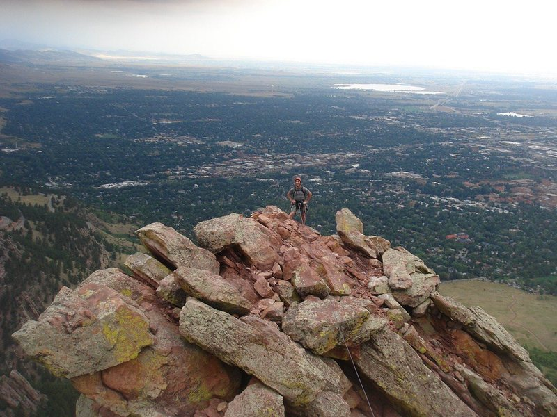 On the ridge traverse, First Flat Iron.<br> <br> Photo by Ross M.