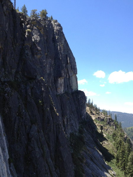 Looking back towards Traveler's Buttress from the East Wall (The Line) at Lover's Leap