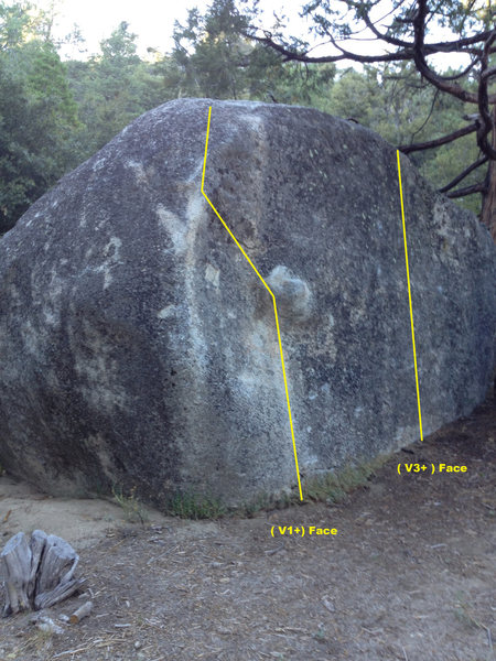 Boulder #73<br> This small boulder is directly across site #73. It has two to three moderate problems on it. The landing is pretty soft and open.