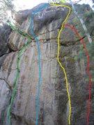 Rock Climbing Photo: Red: Lichen It. Yellow: Drunken Bolting. Blue: Cal...