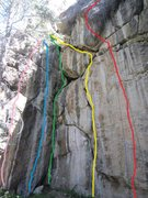 Rock Climbing Photo: Red: Call of the Mountain Lion.  Yellow: Poo Climb...