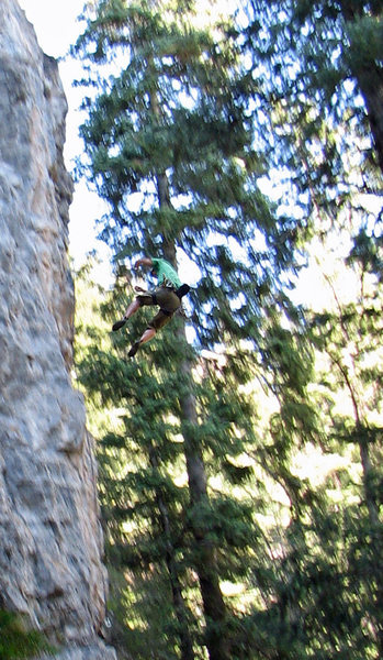 Rock Climbing Photo: Jon eyeing the receding crux.  (He got it next go....