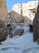 Rock Climbing Photo: Looking up at the route from the base. The money-c...