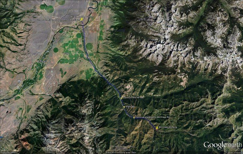 Rock Climbing Photo: Mill Creek Map via Google Earth