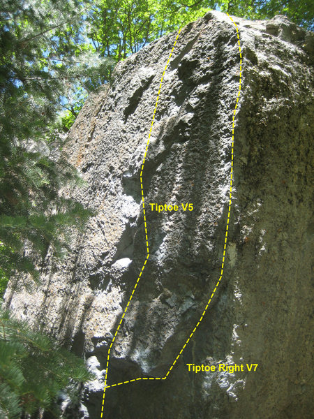 Tiptoe V5 and Tiptoe Right V7.  The V7 variation climbs the right side of the arete.