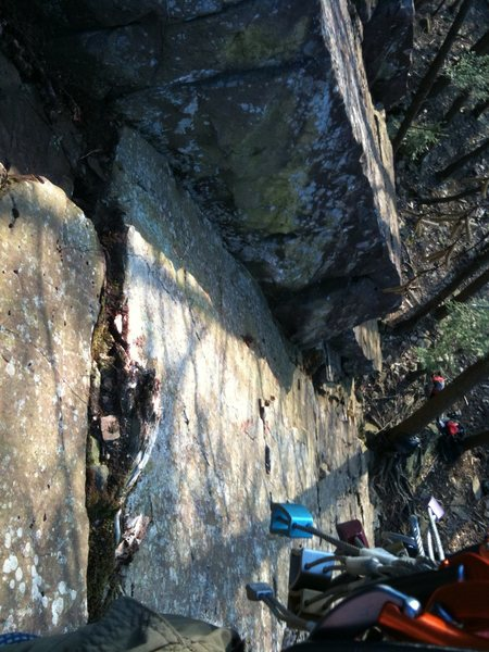 Rock Climbing Photo: Looking down from midpoint (To get the photo I had...
