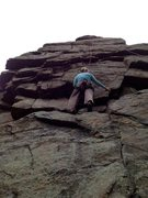 Rock Climbing Photo: Carissa working out the middle section of the pinn...