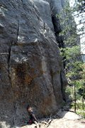 "Rock Climbing Photo: Brenda reading her book at the base of ""Littl..."