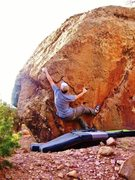 Rock Climbing Photo: Arien beginning the Hot Diggity problem.