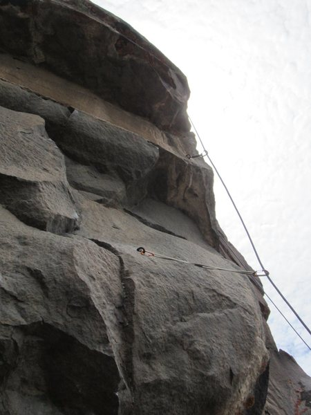Rock Climbing Photo: Looking up the crux of the route.