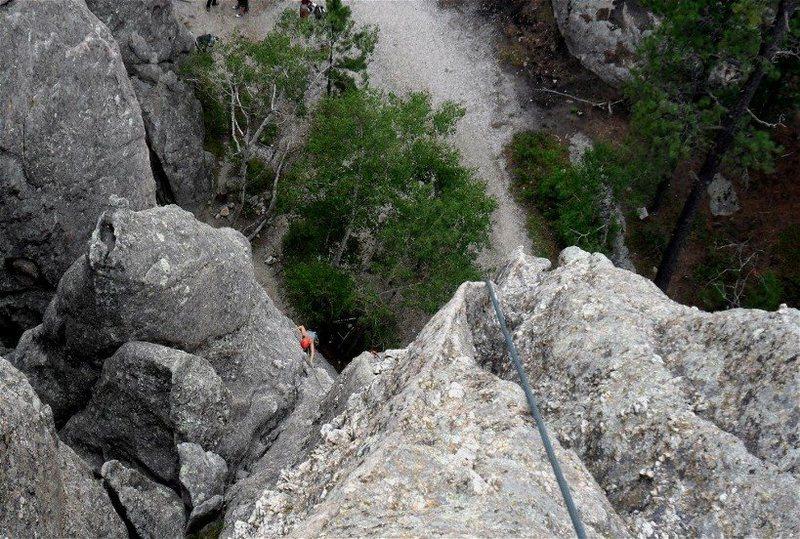 Brenda climbs Second Hand Rose