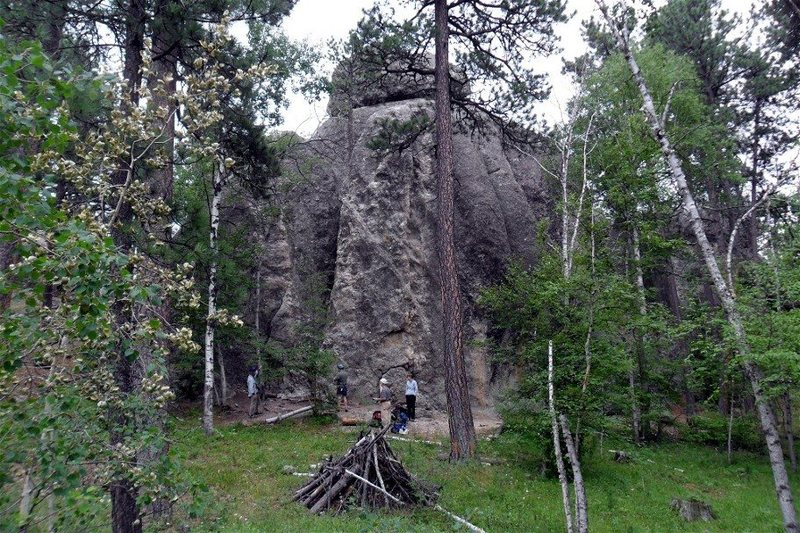 Bull Rock, as seen from the trail coming down from the north (with the rock on the right).