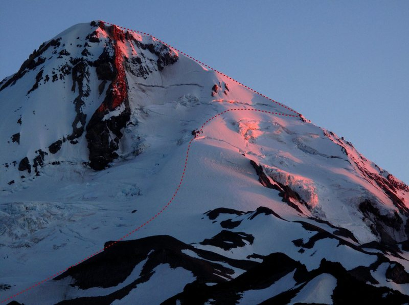 Rock Climbing Photo: The bulk of the Sunshine Route is visible and mark...