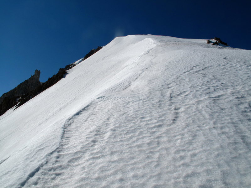 Looking up the ridge just past the bergschrund 7/7/12