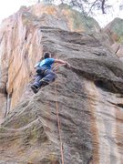 Rock Climbing Photo: Collin working his way through the first crux sect...