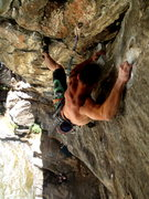 Rock Climbing Photo: Curt MacNeill on the upper crux moves of Sonic You...