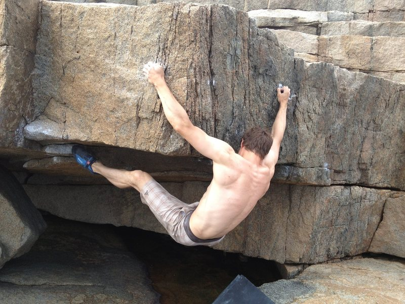Rock Climbing Photo: Traversing right on unknown problem (V6?) at Monum...