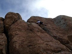 Rock Climbing Photo: Working up to the top of Flakes to Fresno. East Su...