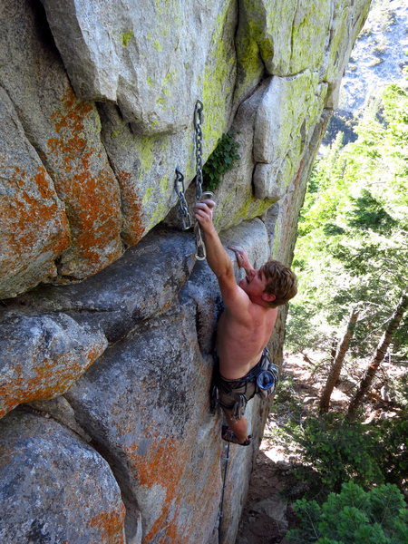 caughtinside putting the final touches on the 5.11 variation of God of Thunder. 7/2012.<br> <br> Photo: Corey Gargano