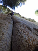 Rock Climbing Photo: James putting in a burn on God of Thunder. 7/2012....