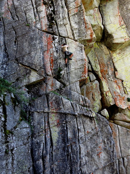 Right at the crux. Rehab. 7/2012. <br> <br> Photo: James Sullivan