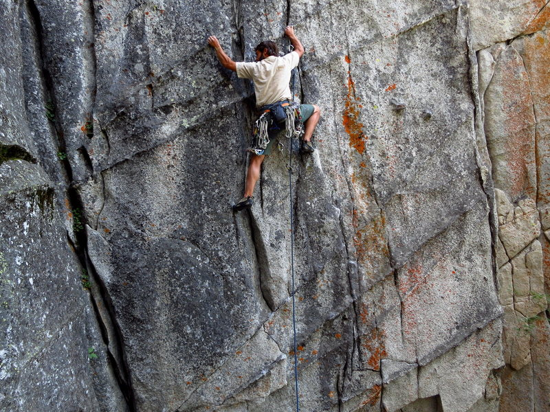 Rock Climbing Photo: Climbing the dikes and flares in the lower face se...