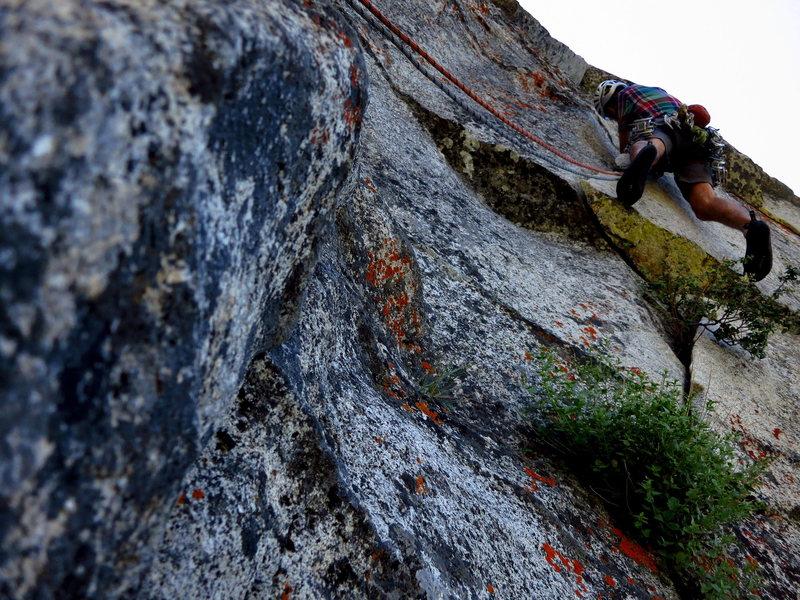 Rock Climbing Photo: James heads up P2. April Fools. 7/2012.   Photo: C...