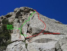 Garden Gnome follows the crack system above and left of the Hired Gun belay.