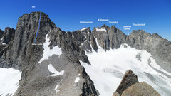 Rock Climbing Photo: Swiss Arete (and surrounding peaks) annotated