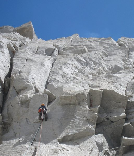 Casey leads the crux pitch of Dr. Bear Love
