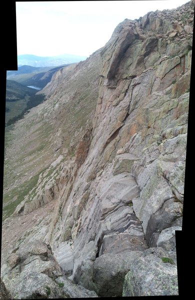 A seemingly unclimbed face on the Alpine Lite Cliffs of Mt. Evans.