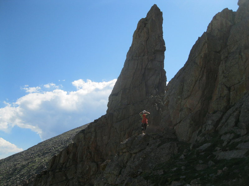 Rock Climbing Photo: Innuendo Spire at the upper left side of the Alpin...