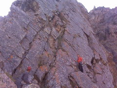 Rock Climbing Photo: Stevie getting ready to dig out pitch three