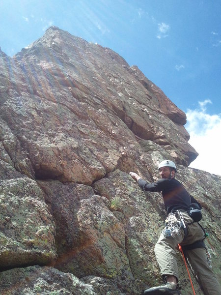 Andy Grauch on the first ascent of Tuna Package on 7-1-12.