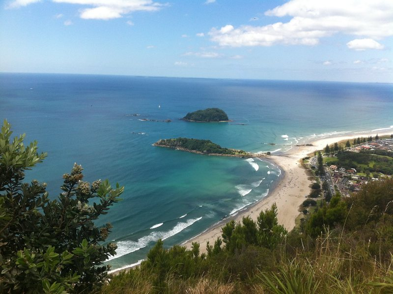 Mt Maunganui beach, as seen from the crag.