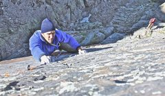 Rock Climbing Photo: The thin face above the roof on the second pitch o...